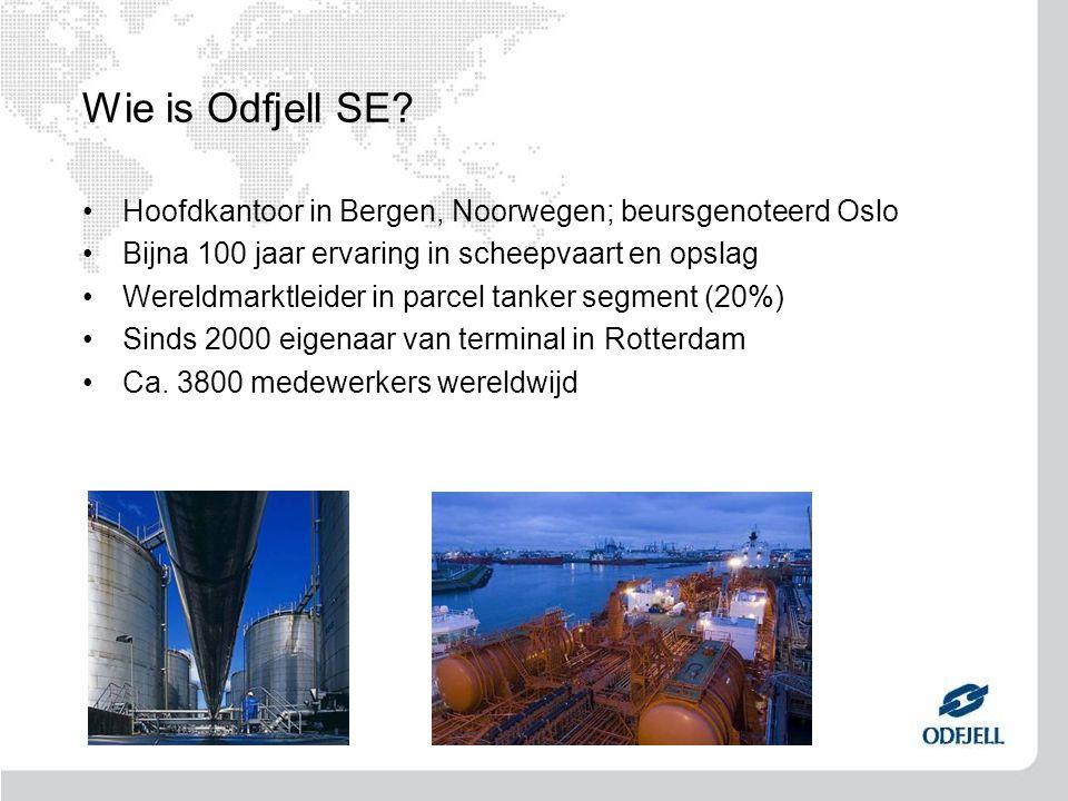 Wie is Odfjell SE Hoofdkantoor in Bergen, Noorwegen; beursgenoteerd Oslo. Bijna 100 jaar ervaring in scheepvaart en opslag.