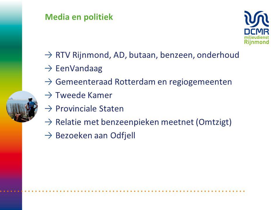 Media en politiek RTV Rijnmond, AD, butaan, benzeen, onderhoud. EenVandaag. Gemeenteraad Rotterdam en regiogemeenten.