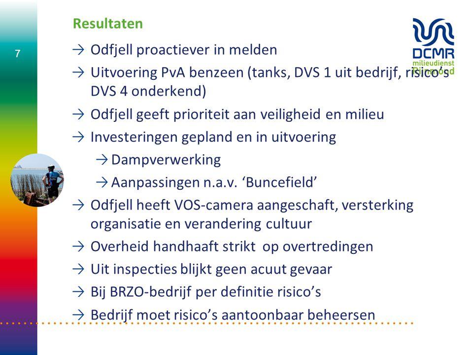 Resultaten Odfjell proactiever in melden. Uitvoering PvA benzeen (tanks, DVS 1 uit bedrijf, risico's DVS 4 onderkend)