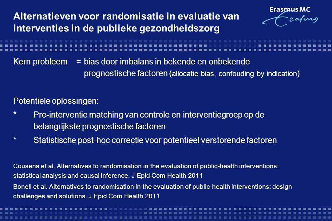 Alternatieven voor randomisatie in evaluatie van interventies in de publieke gezondheidszorg