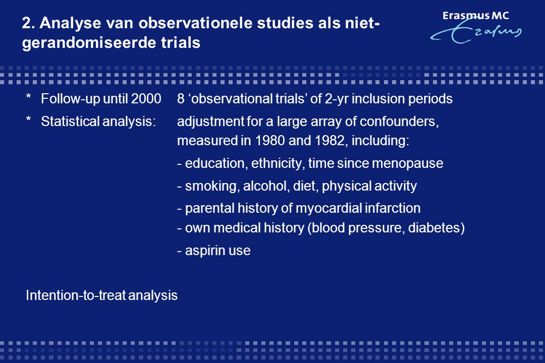 2. Analyse van observationele studies als niet-gerandomiseerde trials