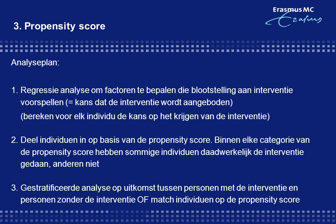 3. Propensity score Analyseplan: