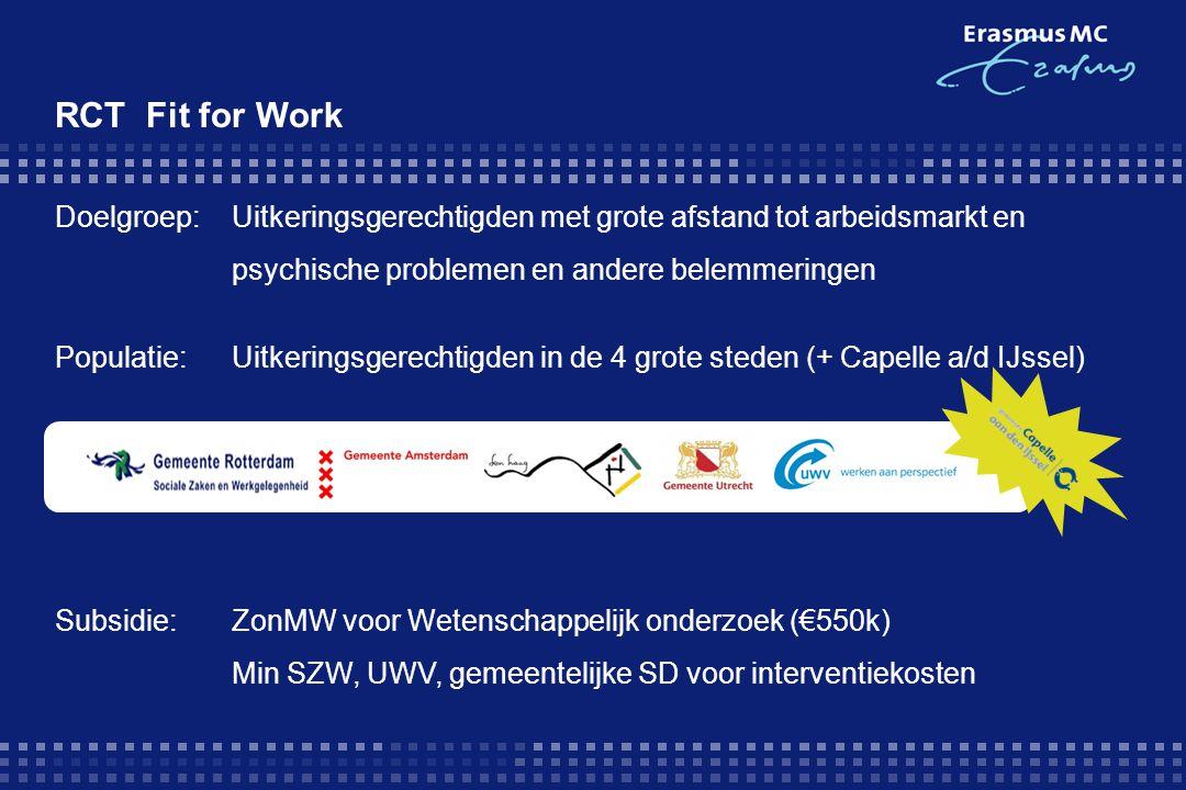 RCT Fit for Work Doelgroep: Uitkeringsgerechtigden met grote afstand tot arbeidsmarkt en. psychische problemen en andere belemmeringen.