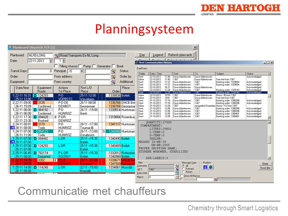 Planningsysteem Communicatie met chauffeurs