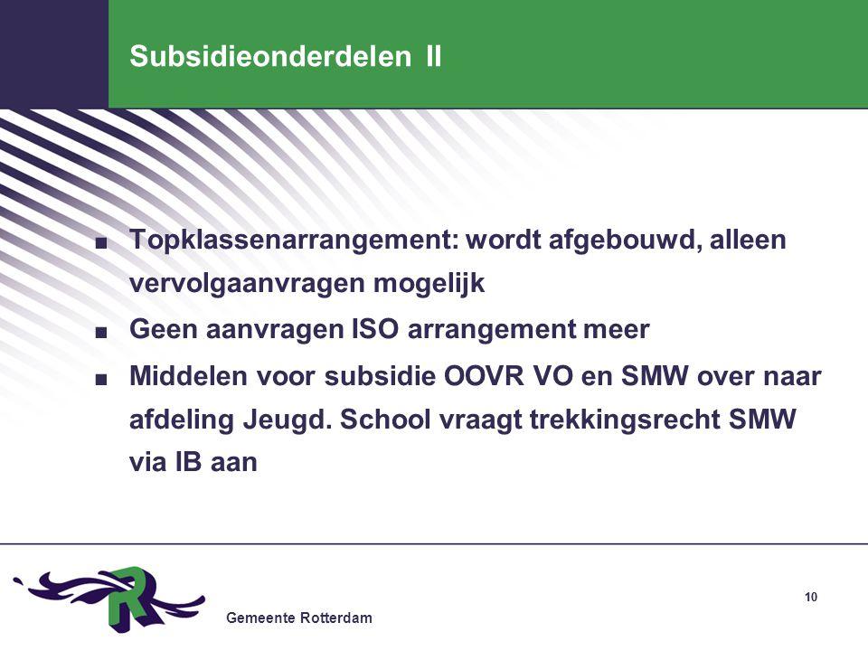 Subsidieonderdelen II