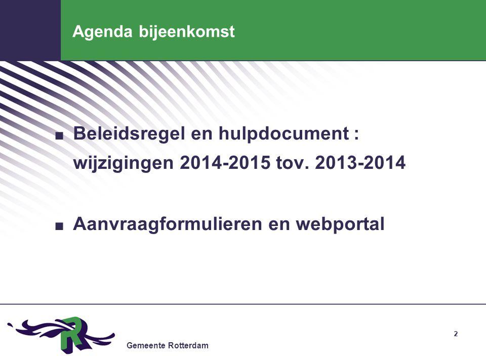Beleidsregel en hulpdocument : wijzigingen 2014-2015 tov. 2013-2014