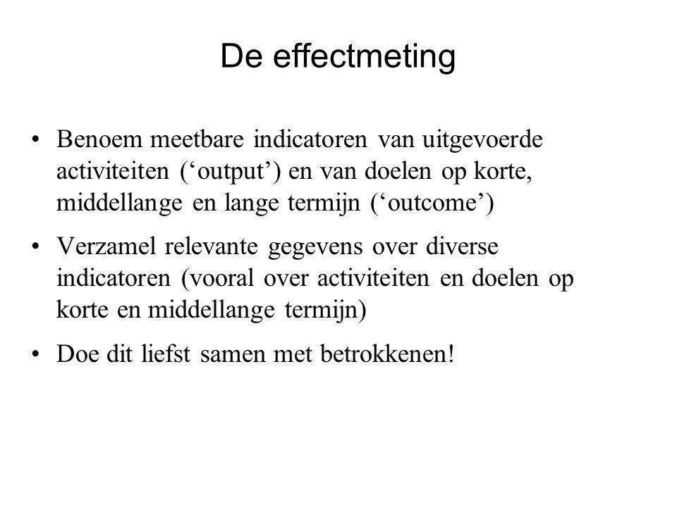 De effectmeting Benoem meetbare indicatoren van uitgevoerde activiteiten ('output') en van doelen op korte, middellange en lange termijn ('outcome')