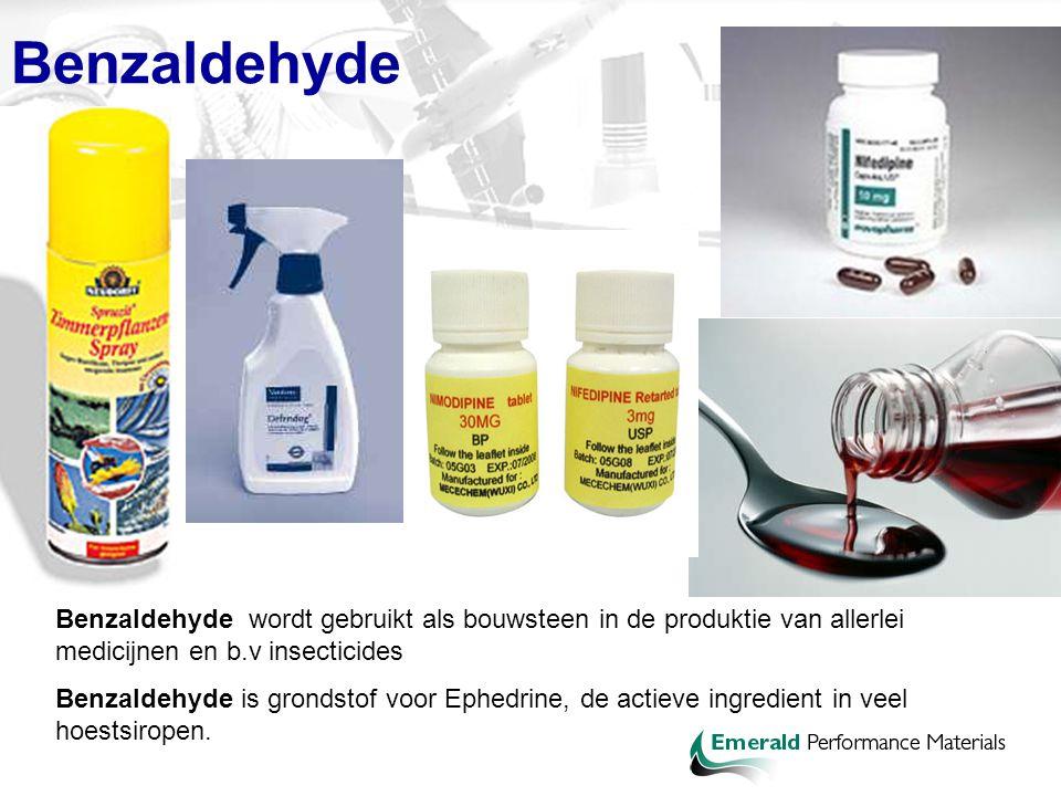 Benzaldehyde Benzaldehyde wordt gebruikt als bouwsteen in de produktie van allerlei medicijnen en b.v insecticides.