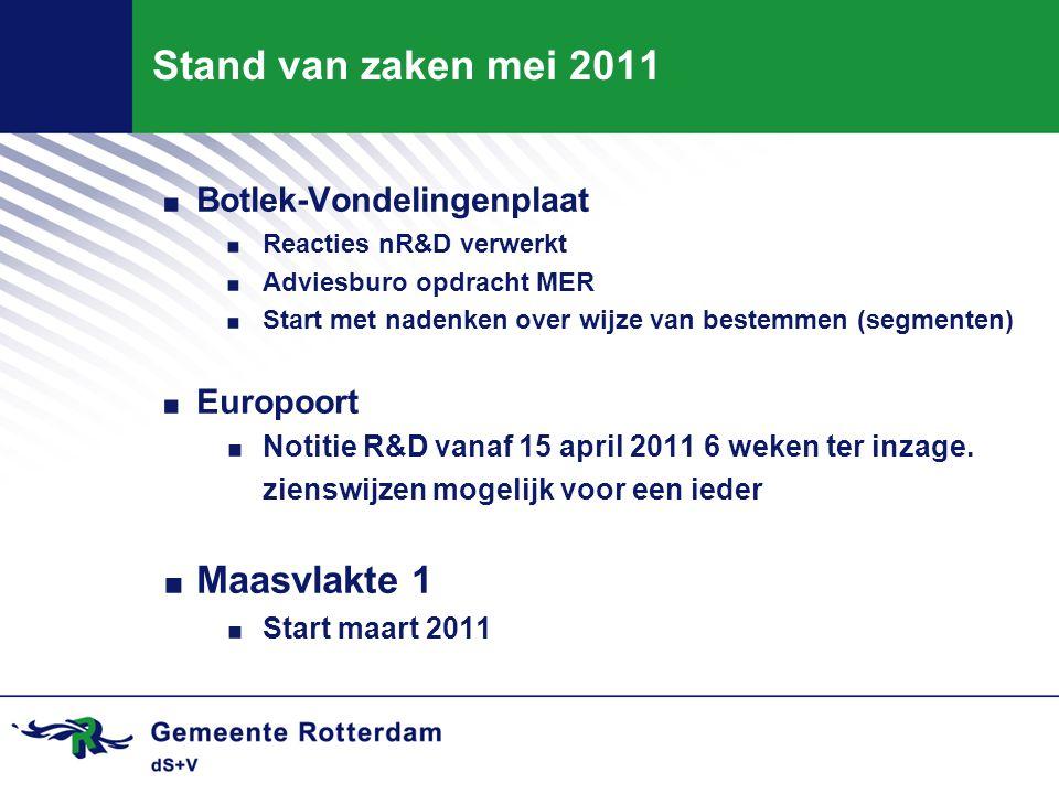 Stand van zaken mei 2011 Maasvlakte 1 Botlek-Vondelingenplaat