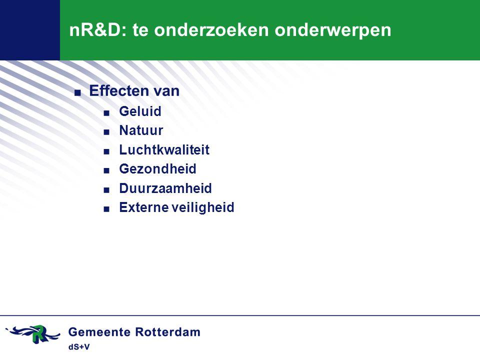 nR&D: te onderzoeken onderwerpen