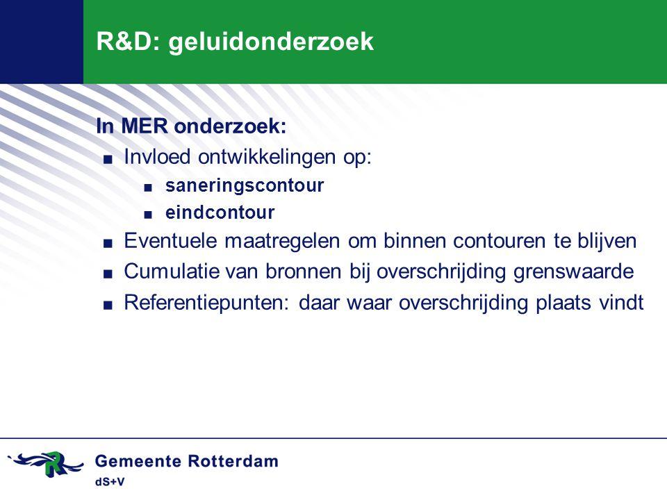 R&D: geluidonderzoek In MER onderzoek: Invloed ontwikkelingen op: