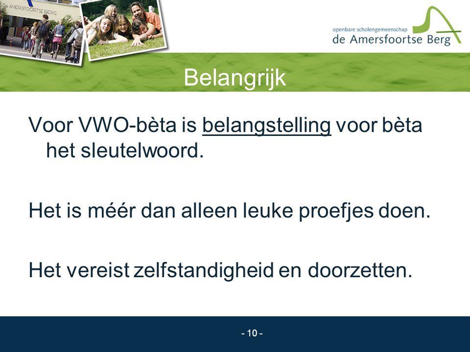 Belangrijk Voor VWO-bèta is belangstelling voor bèta het sleutelwoord.