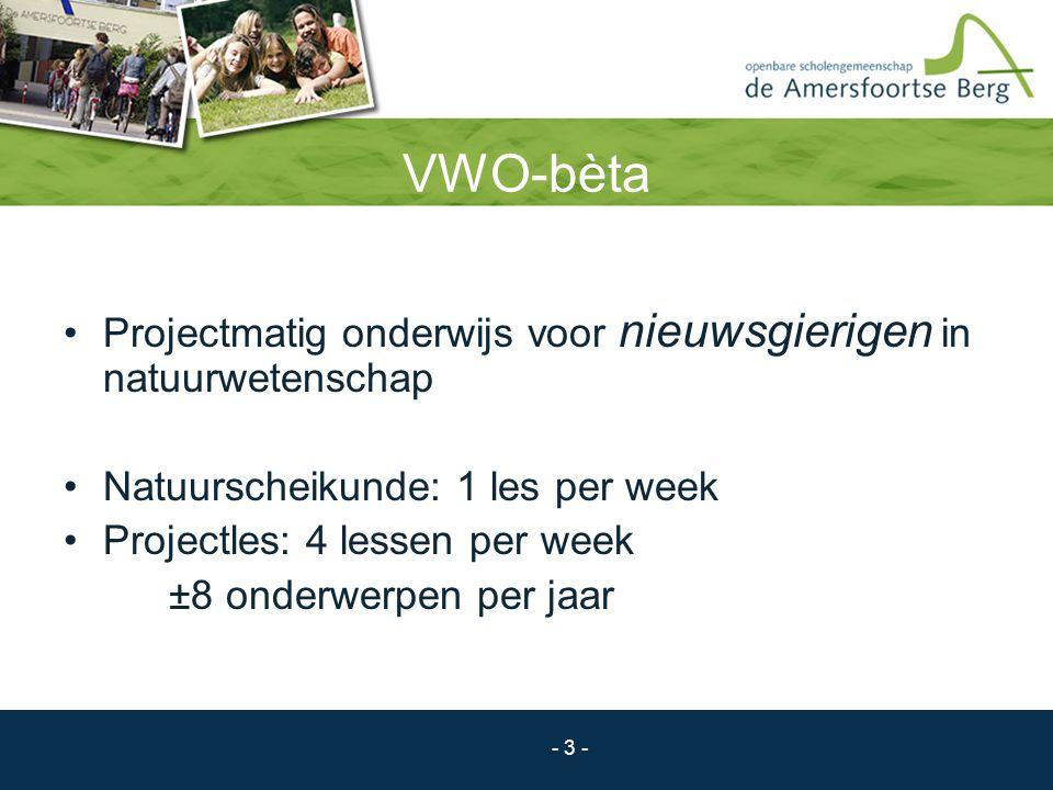 VWO-bèta Projectmatig onderwijs voor nieuwsgierigen in natuurwetenschap. Natuurscheikunde: 1 les per week.