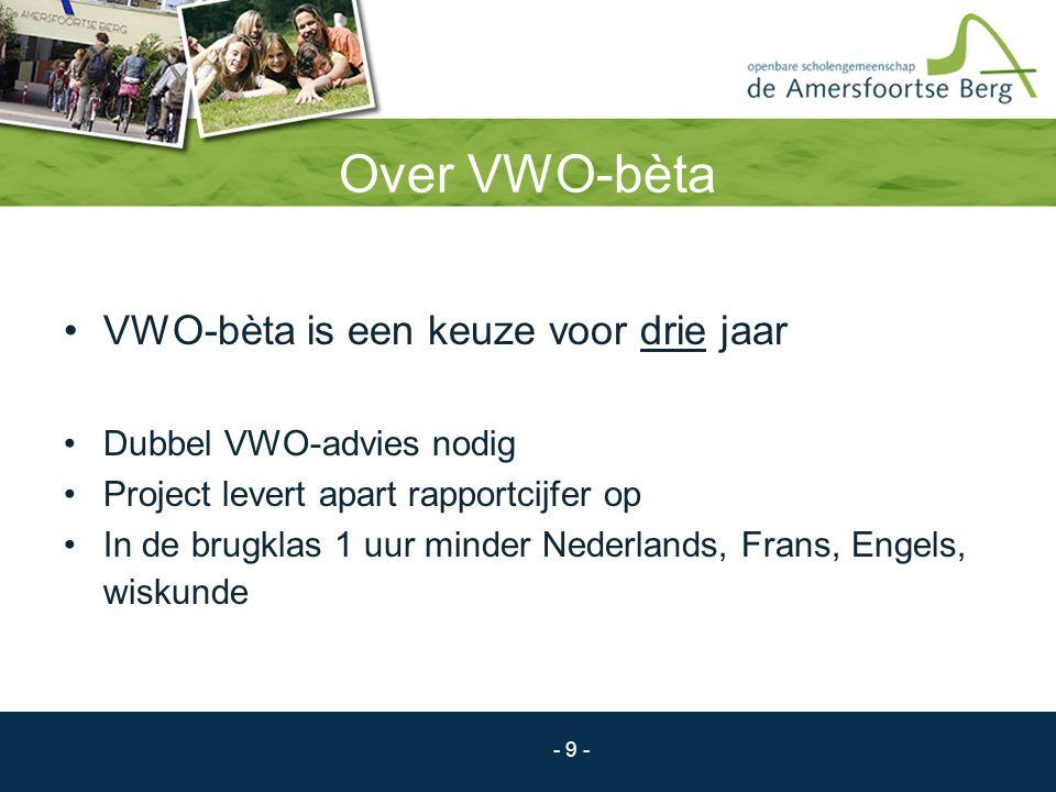 Over VWO-bèta VWO-bèta is een keuze voor drie jaar