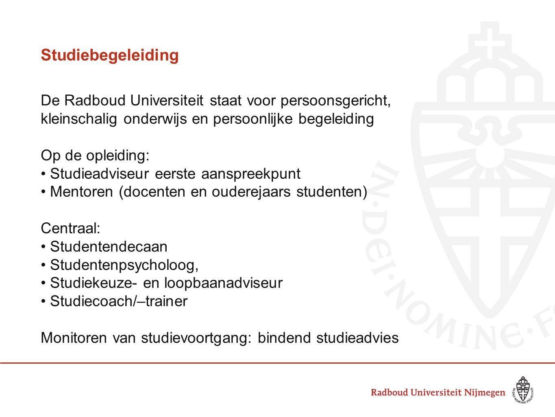 Studiebegeleiding De Radboud Universiteit staat voor persoonsgericht, kleinschalig onderwijs en persoonlijke begeleiding.