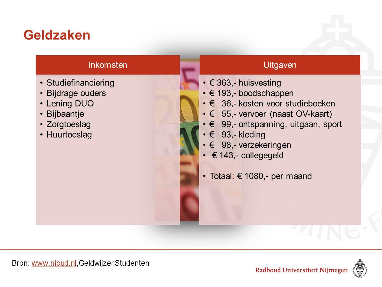 Geldzaken Bron: www.nibud.nl,Geldwijzer Studenten Inkomsten