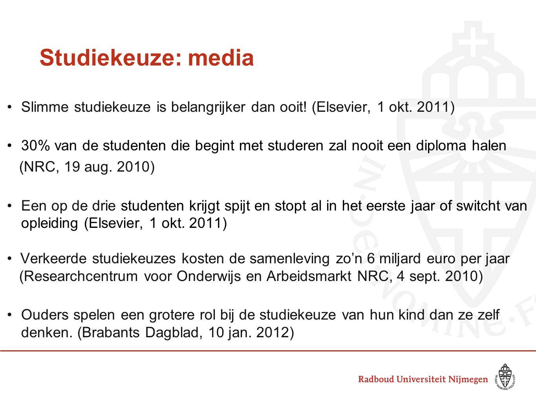 Studiekeuze: media Slimme studiekeuze is belangrijker dan ooit! (Elsevier, 1 okt. 2011)