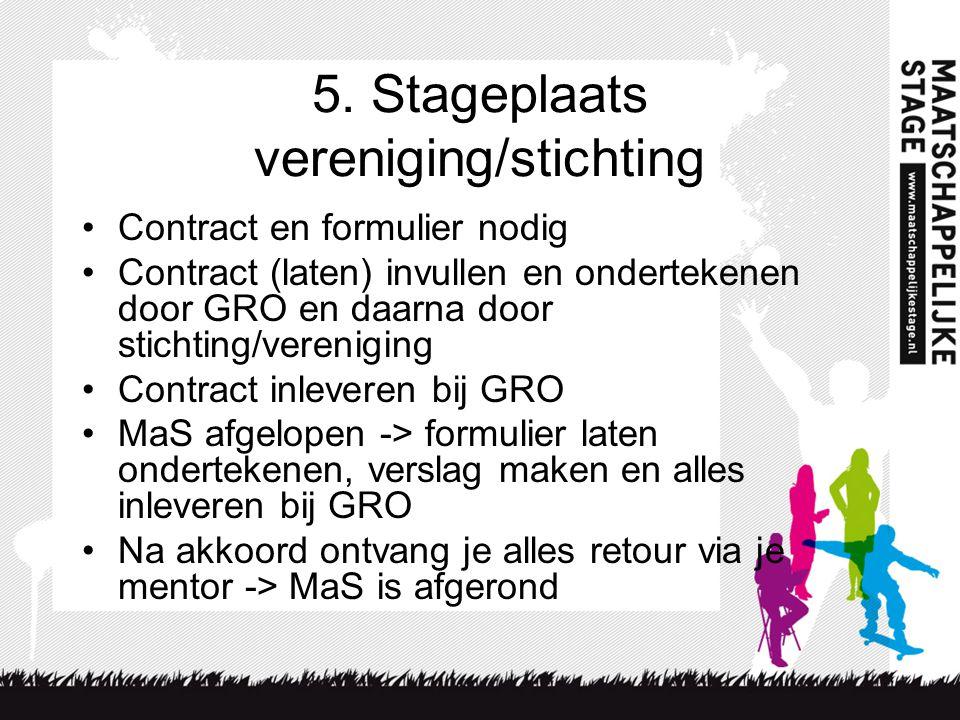 5. Stageplaats vereniging/stichting