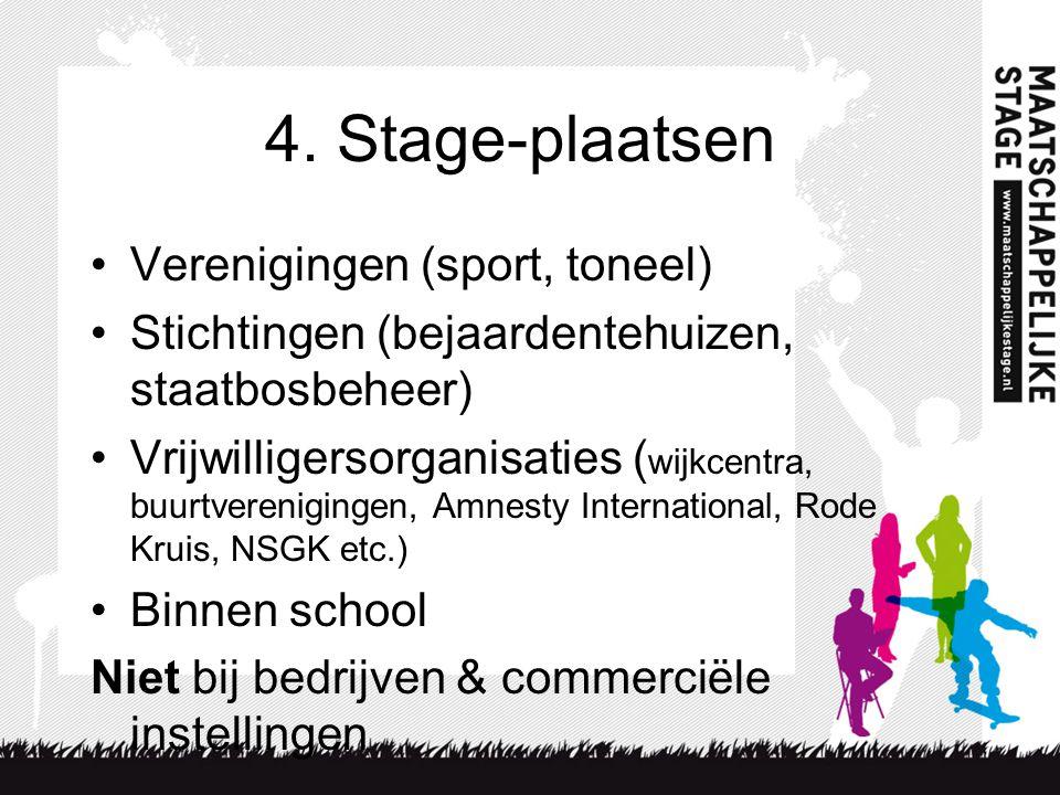 4. Stage-plaatsen Verenigingen (sport, toneel)