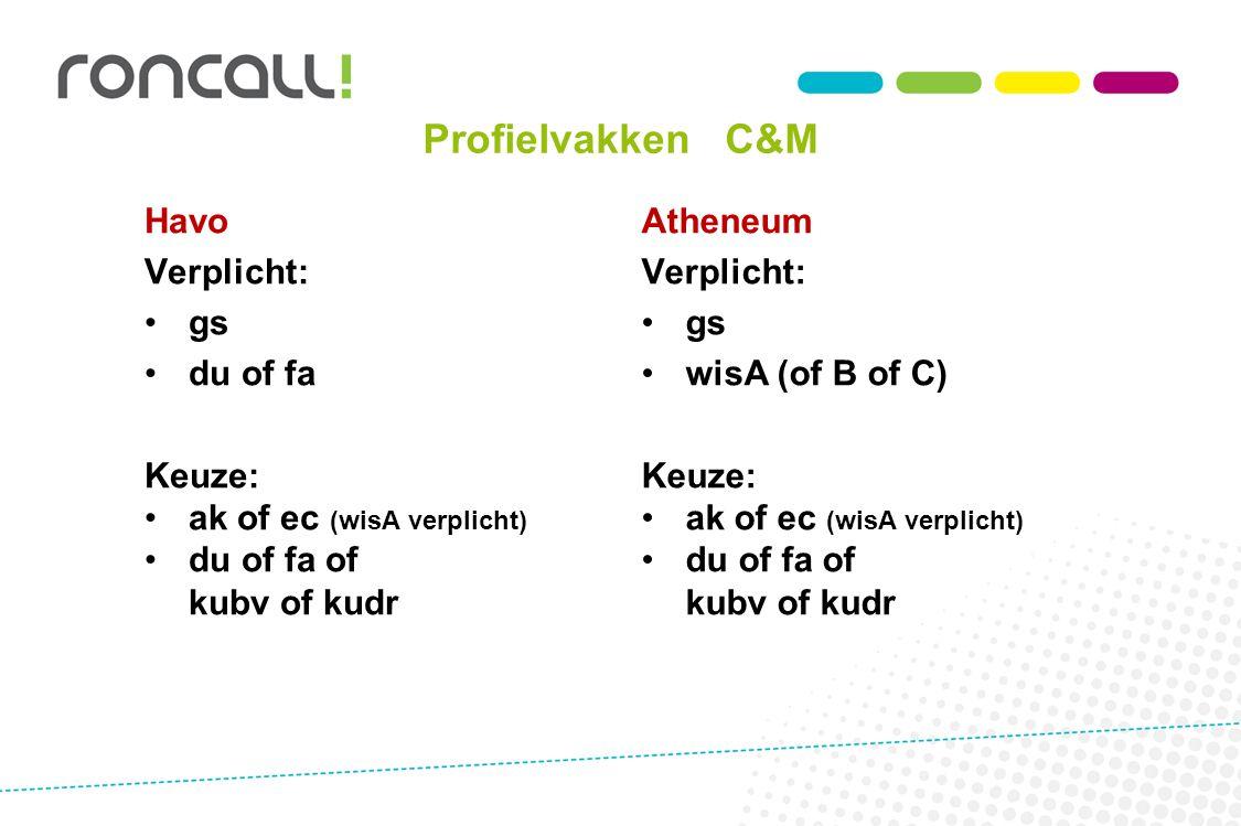Profielvakken C&M Havo Verplicht: gs du of fa Keuze: