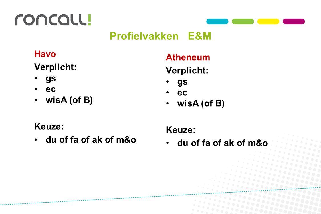 Profielvakken E&M Havo Atheneum Verplicht: Verplicht: gs gs ec ec