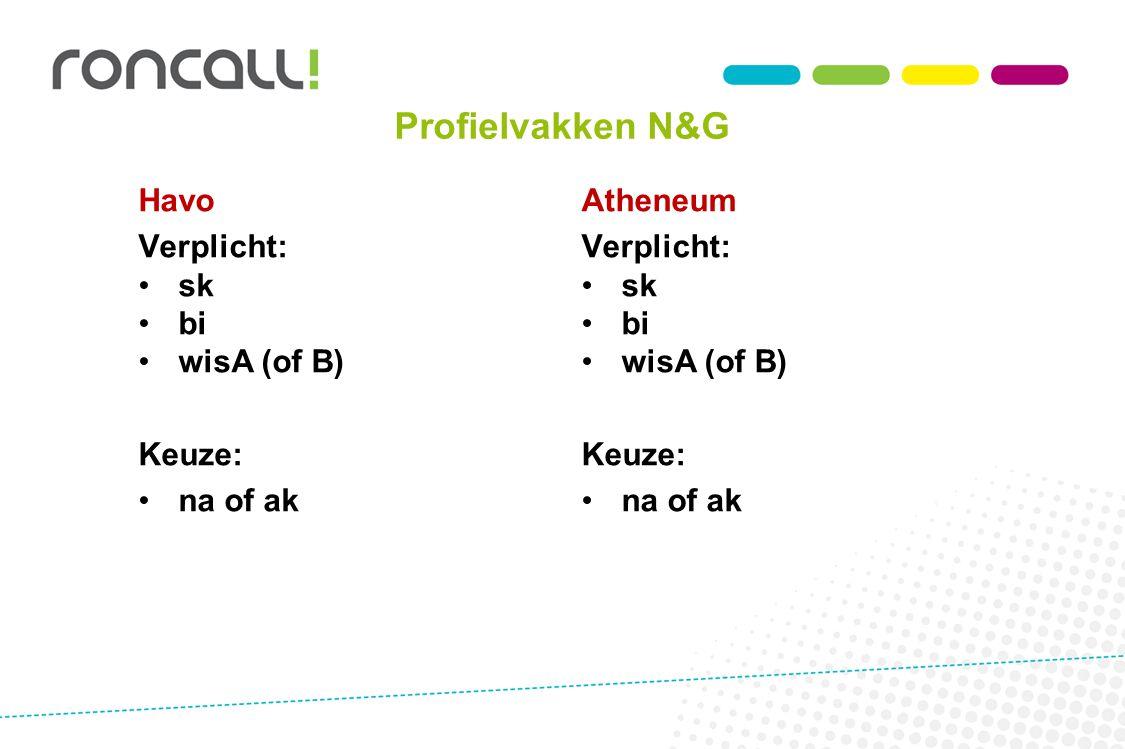 Profielvakken N&G Havo Verplicht: sk bi wisA (of B) Keuze: na of ak