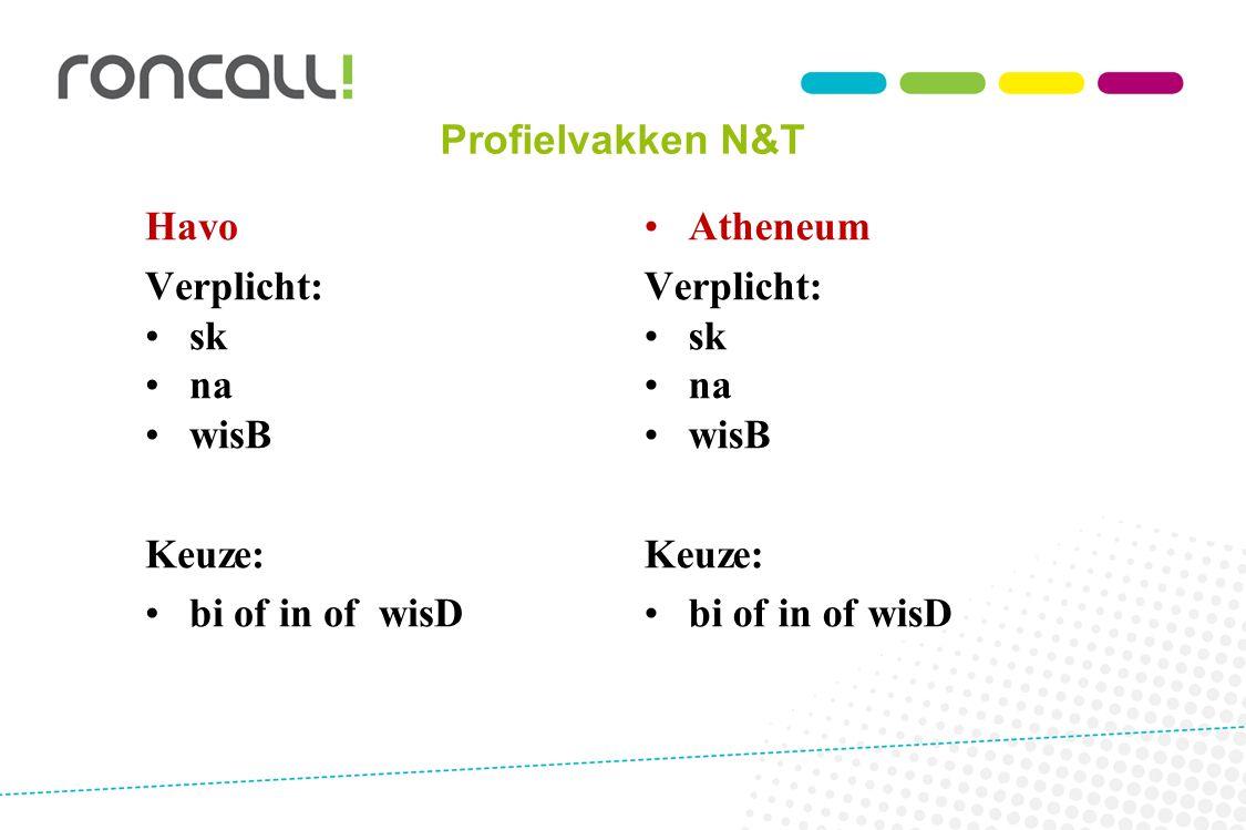 Profielvakken N&T Havo. Verplicht: sk. na. wisB. Keuze: bi of in of wisD. Atheneum. Verplicht: