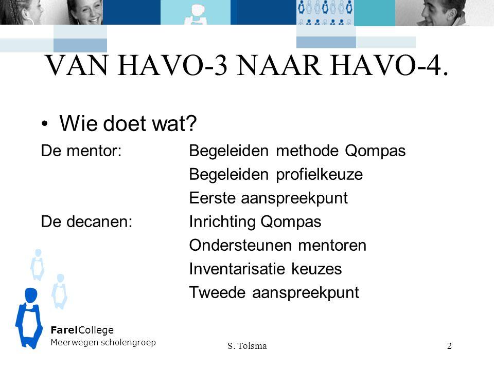 VAN HAVO-3 NAAR HAVO-4. Wie doet wat