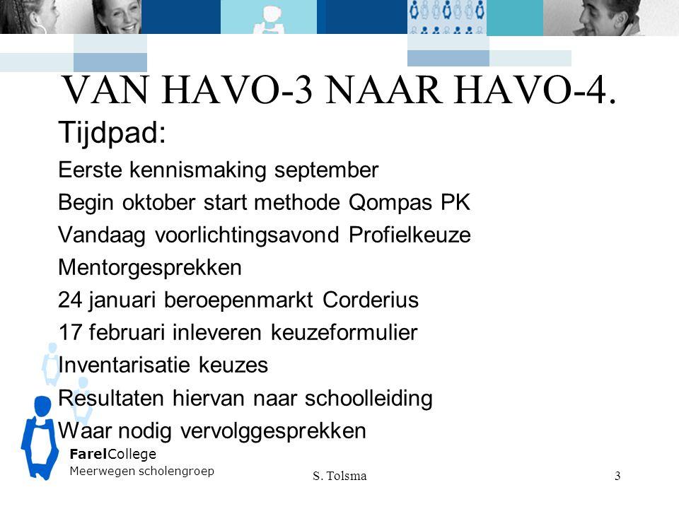 VAN HAVO-3 NAAR HAVO-4. Tijdpad: Eerste kennismaking september
