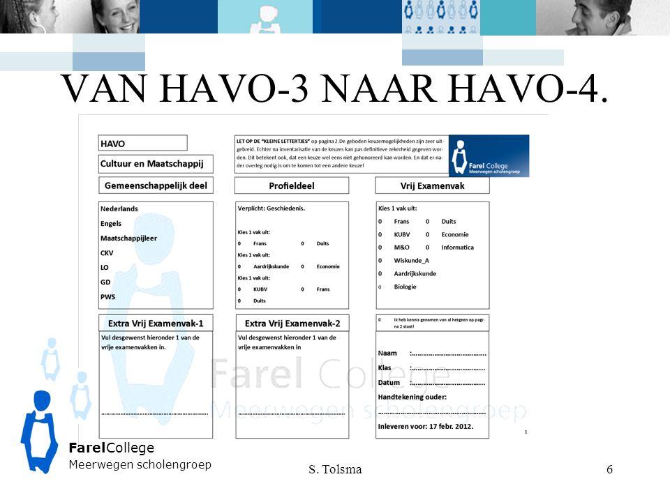 VAN HAVO-3 NAAR HAVO-4. FarelCollege S. Tolsma Welkom Sjoerd Tolsma