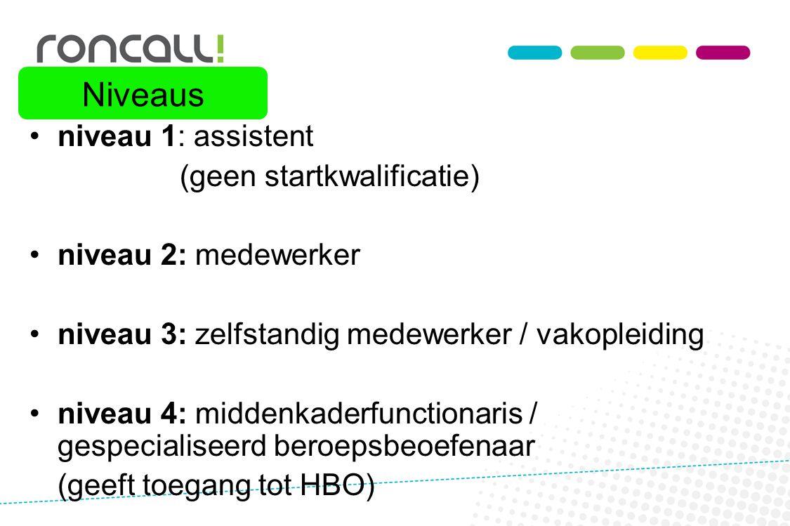 Niveaus niveau 1: assistent (geen startkwalificatie)