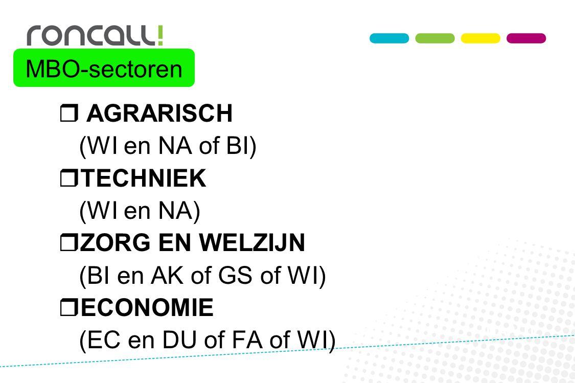 MBO-sectoren AGRARISCH (WI en NA of BI) TECHNIEK (WI en NA)