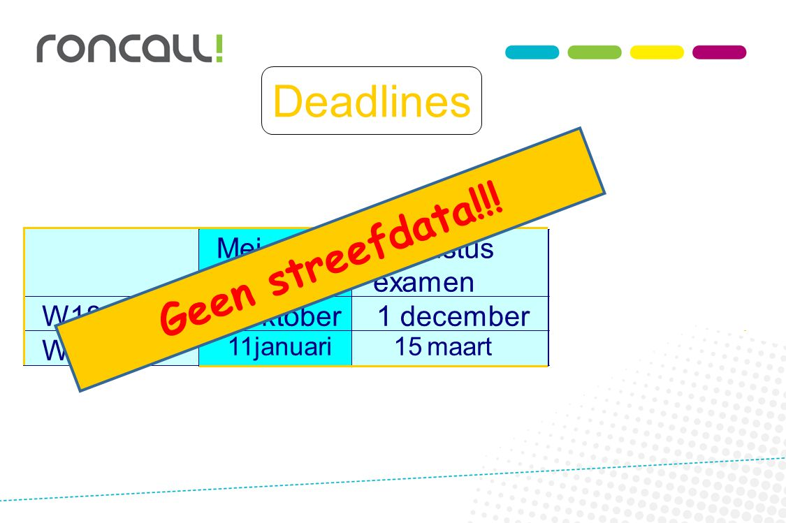 Deadlines Geen streefdata!!! Mei Augustus examen examen W18 vol