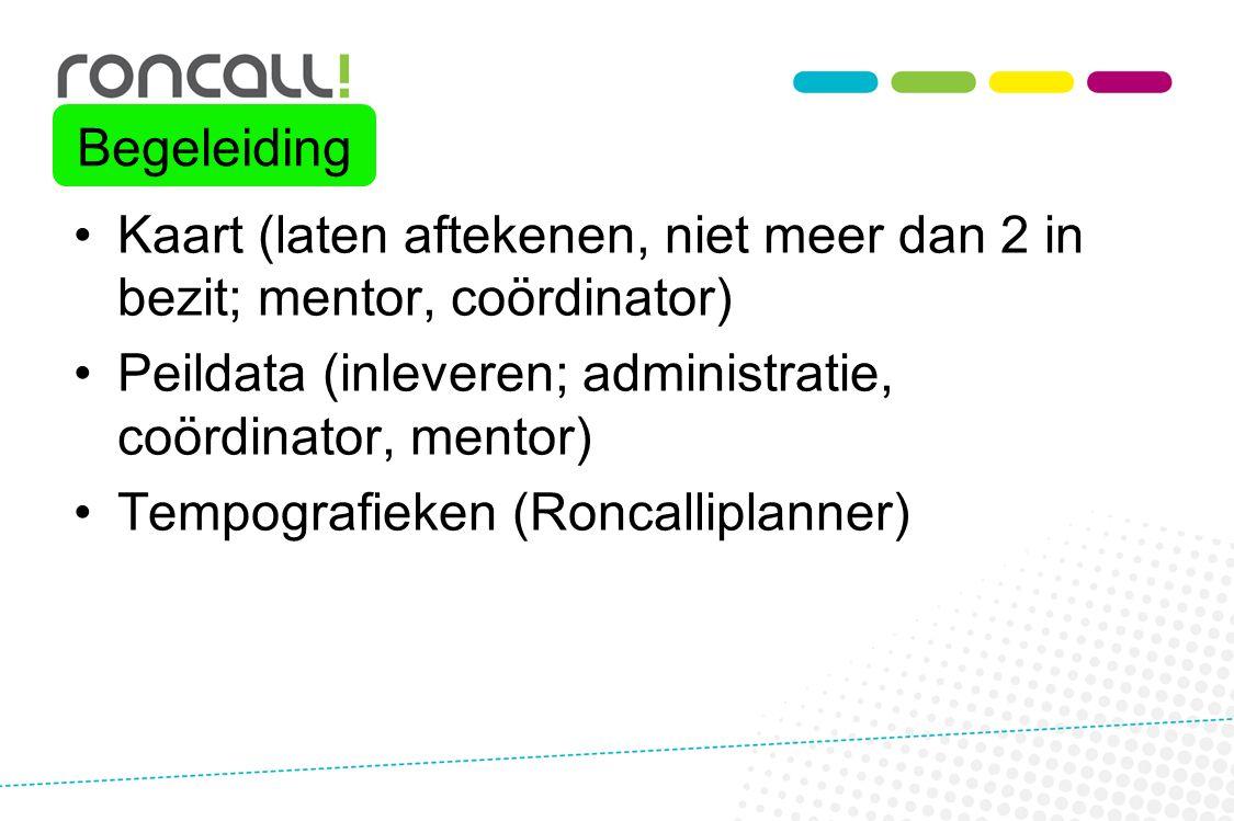 Begeleiding Kaart (laten aftekenen, niet meer dan 2 in bezit; mentor, coördinator) Peildata (inleveren; administratie, coördinator, mentor)