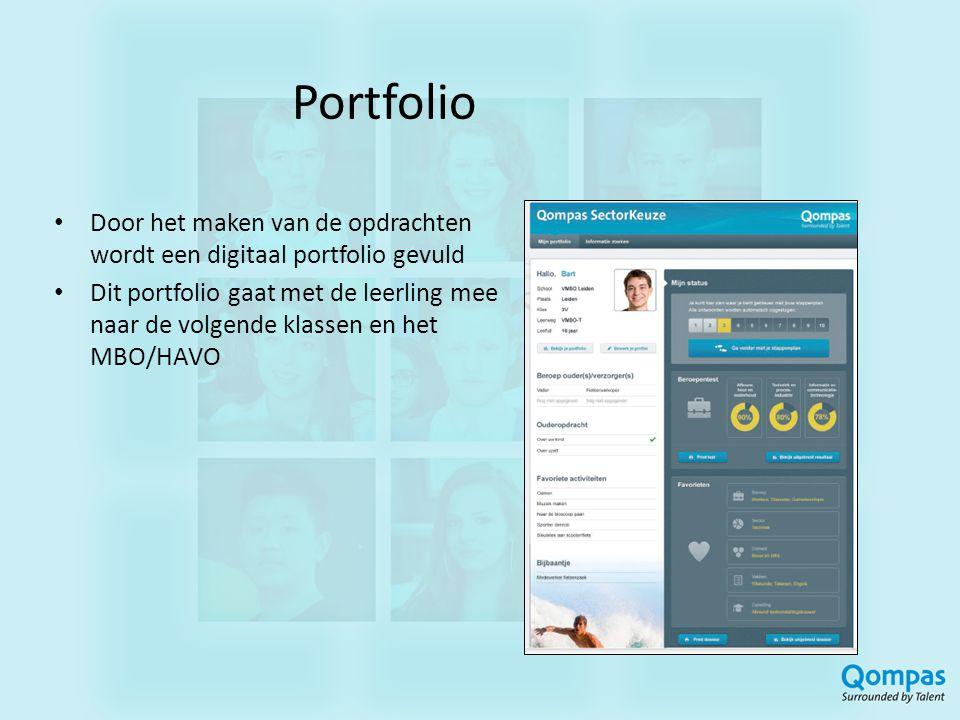 Portfolio Door het maken van de opdrachten wordt een digitaal portfolio gevuld.
