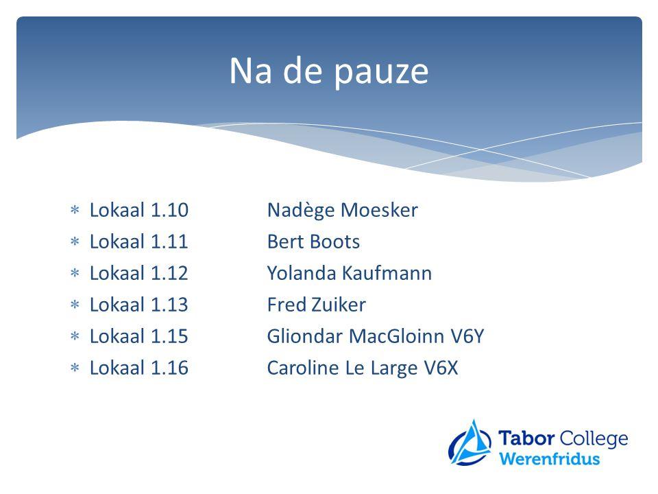 Na de pauze Lokaal 1.10 Nadège Moesker Lokaal 1.11 Bert Boots