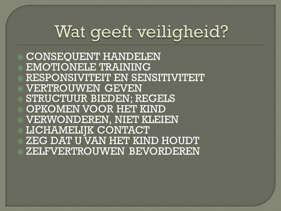 Wat geeft veiligheid CONSEQUENT HANDELEN EMOTIONELE TRAINING