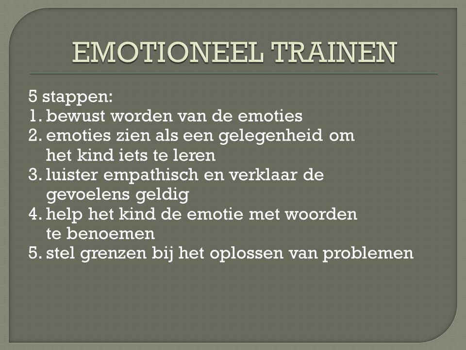 EMOTIONEEL TRAINEN 5 stappen: 1. bewust worden van de emoties