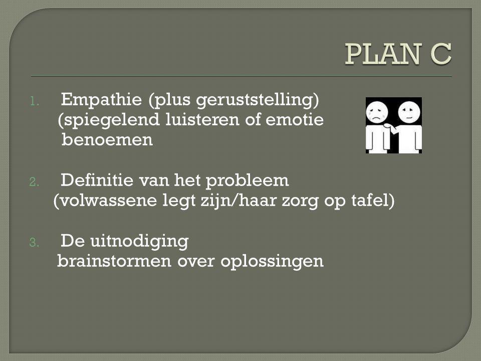 PLAN C Empathie (plus geruststelling) (spiegelend luisteren of emotie