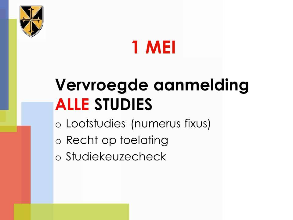 1 MEI Vervroegde aanmelding ALLE STUDIES Lootstudies (numerus fixus)