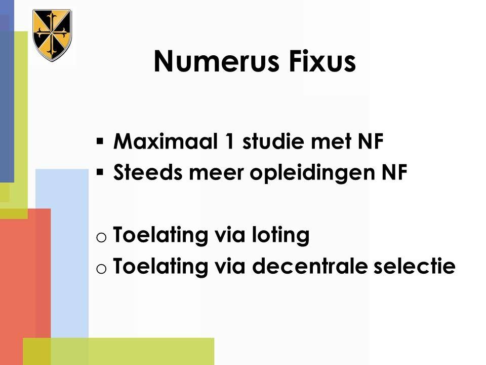 Numerus Fixus Maximaal 1 studie met NF Steeds meer opleidingen NF