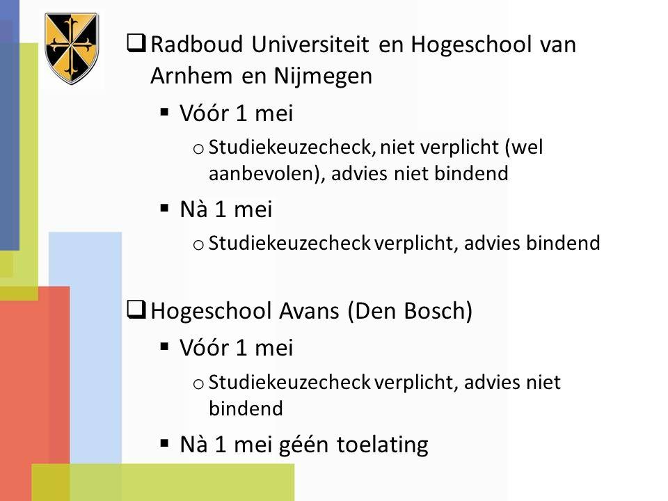 Radboud Universiteit en Hogeschool van Arnhem en Nijmegen Vóór 1 mei
