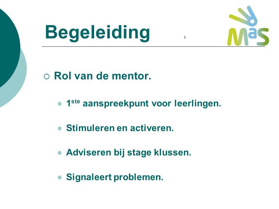 Begeleiding 2 Rol van de mentor. 1ste aanspreekpunt voor leerlingen.