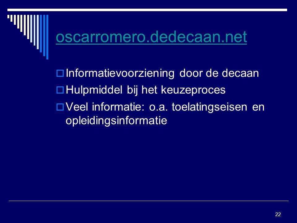oscarromero.dedecaan.net Informatievoorziening door de decaan