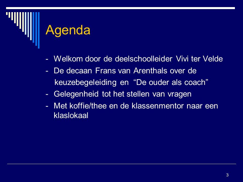 Agenda - Welkom door de deelschoolleider Vivi ter Velde