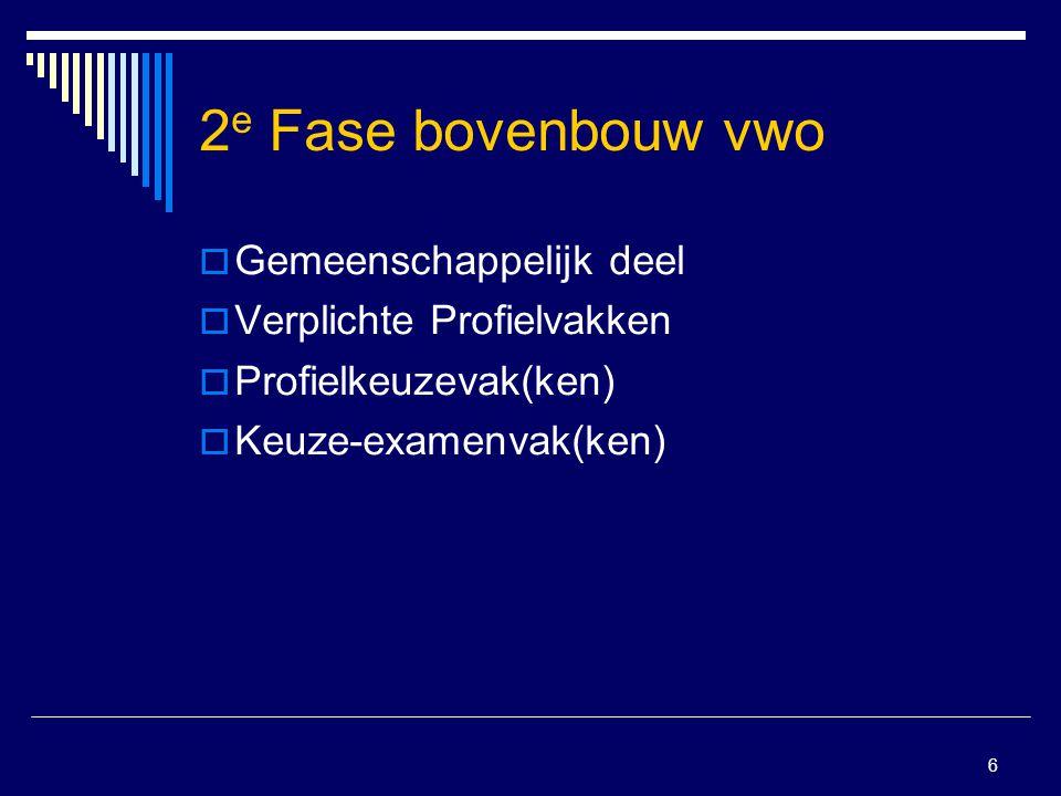 2e Fase bovenbouw vwo Gemeenschappelijk deel Verplichte Profielvakken