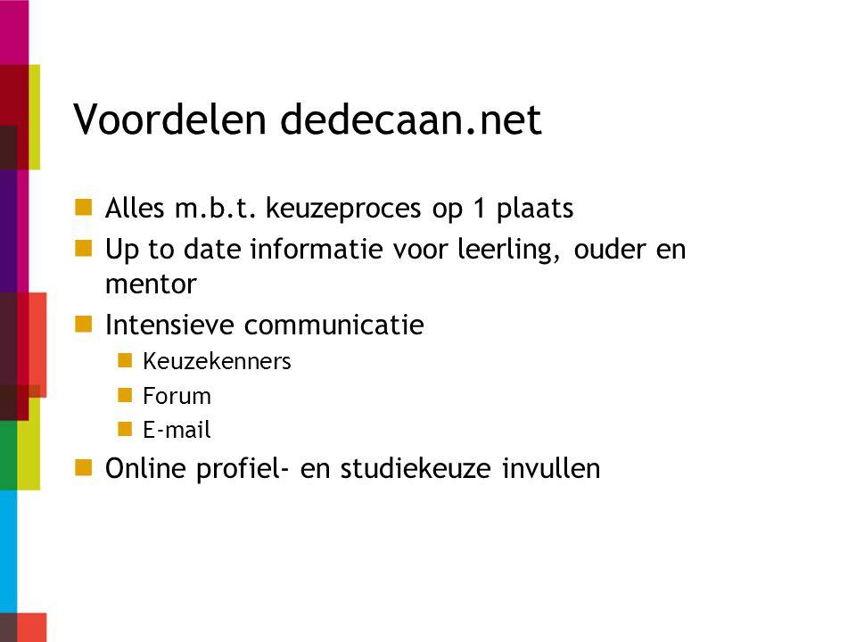 Voordelen dedecaan.net