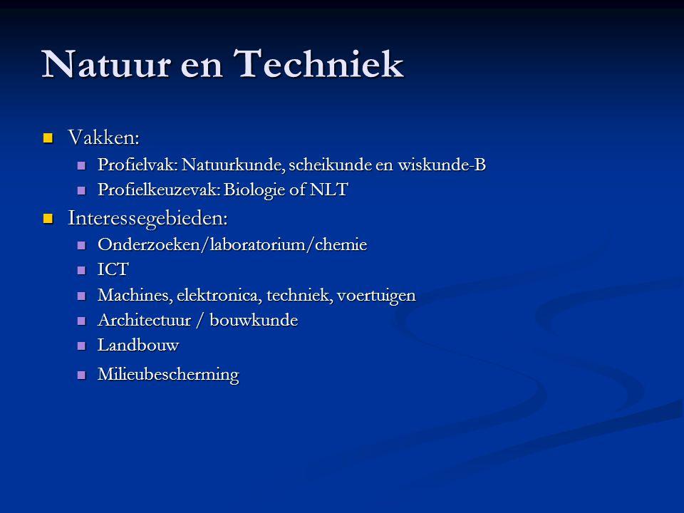 Natuur en Techniek Vakken: Interessegebieden: