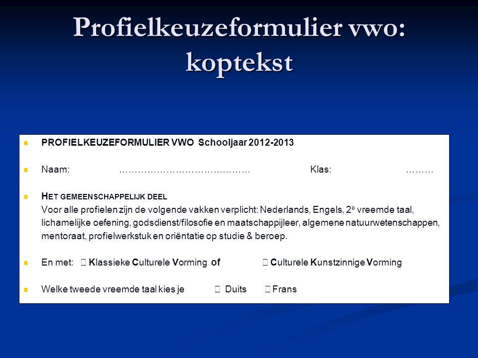 Profielkeuzeformulier vwo: koptekst