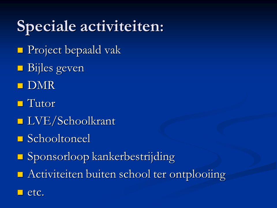 Speciale activiteiten: